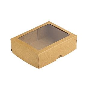 Caixa de Papel com Visor S19 (8,5cm x 12,5cm x 3,5cm) Kraft 10 unidades Assk Rizzo Confeitaria