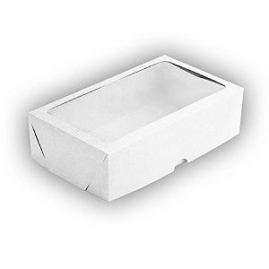 Caixa de Papel com Visor S20 (22cm x 11,7cm x 4,5cm) Branca 10 unidades Assk Rizzo Confeitaria