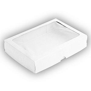 Caixa de Papel com Visor S4 (14cm x 20cm x 4cm) Branca 10 unidades Assk Rizzo Confeitaria