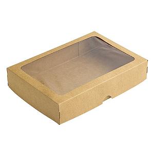 Caixa de Papel com Visor S4 (14cm x 20cm x 4cm) Kraft 10 unidades Assk Rizzo Confeitaria