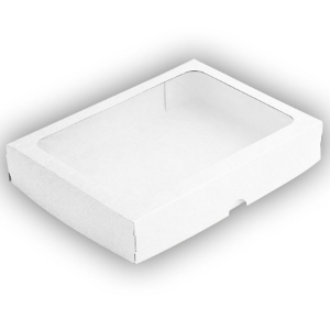 Caixa de Papel com Visor S5 (16cm x 22cm x 4cm) Branca 10 unidades Assk Rizzo Confeitaria