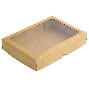 Caixa de Papel com Visor S5 (16cm x 22cm x 4cm) Kraft 10 unidades Assk Rizzo Confeitaria
