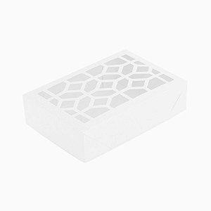 Caixa de Papel com Visor Vazada S2 (10cm x 15cm x 4cm) Branca10 unidades Assk Rizzo Confeitaria