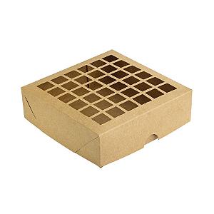 Caixa de Papel com Visor Vazada S3 (14cm x 14cm x 4cm) Kraft 10 unidades Assk Rizzo Confeitaria
