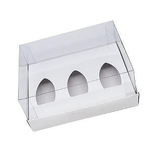 Caixa Barca de Chocolate 3 Cavidades - P - 20,5cm x 17cm x 6,5cm - Branco - 5unidades - Assk - Páscoa Rizzo Confeitaria