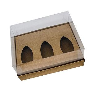 Caixa Barca de Chocolate 3 Cavidades - P - 20,5cm x 17cm x 6,5cm - Kraft - 5unidades - Assk - Páscoa Rizzo Confeitaria