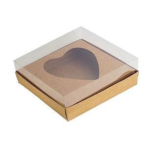 Caixa Ovo de Colher - Meio Coração de 250g - 15cm x 13cm x 6,5cm - Kraft - 5unidades - Assk - Páscoa Rizzo Confeitaria