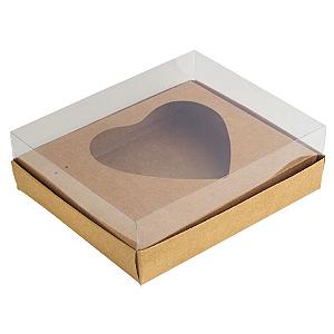Caixa Ovo de Colher - Meio Coração de 500g - 20,5cm x 17cm x 6,5cm - Kraft - 5unidades - Assk - Páscoa Rizzo Confeitaria
