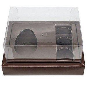 Caixa Ovo de Colher com Moldura 3 Bombons - Meio Ovo de 100g a 150g - 20cm x 15cm x 10cm - Marrom - 5unidades - Assk - Páscoa Rizzo Confeitaria