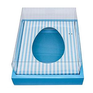 Caixa Ovo de Colher com Moldura - Meio Ovo de 250g - 20cm x 15,5cm x 10cm - Azul Listras - 5unidades - Assk - Páscoa Rizzo Confeitaria