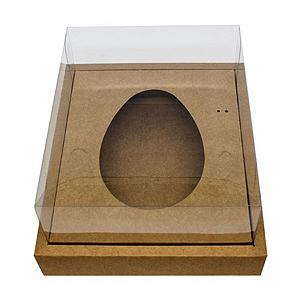Caixa Ovo de Colher com Moldura - Meio Ovo de 250g - 20cm x 15,5cm x 10cm - Kraft - 5unidades - Assk - Páscoa Rizzo Confeitaria
