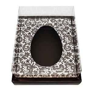 Caixa Ovo de Colher com Moldura - Meio Ovo de 250g - 20cm x 15,5cm x 10cm - Marrom Arabesco - 5unidades - Assk - Páscoa Rizzo Confeitaria