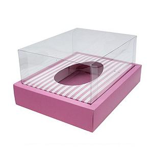 Caixa Ovo de Colher com Moldura - Meio Ovo de 250g - 20cm x 15,5cm x 10cm - Rosa Listras - 5unidades - Assk - Páscoa Rizzo Confeitaria