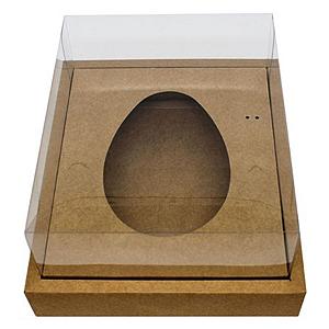 Caixa Ovo de Colher com Moldura - Meio Ovo de 500g - 23cm x 19cm x 10cm - Kraft - 5unidades - Assk - Páscoa Rizzo Confeitaria