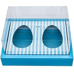 Caixa Ovo de Colher Duplo Com Moldura - Meio Ovo de 100g a 150g - 20x15,5x10cm - Listras Azul - 5unidades - Assk - Páscoa Rizzo Confeitaria