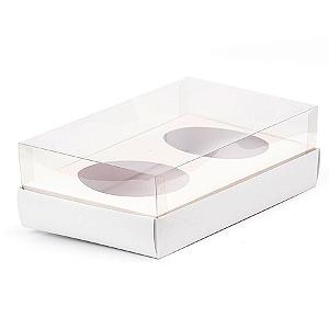 Caixa Ovo de Colher Duplo - Meio Ovo de 100g a 150g - 20cm x 13cm x 8,8cm - Branca - 5unidades - Assk - Páscoa Rizzo Confeitaria
