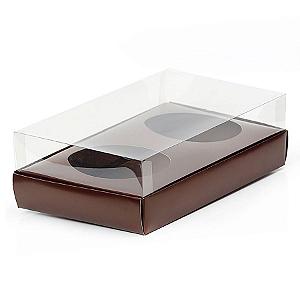 Caixa Ovo de Colher Duplo - Meio Ovo de 100g a 150g - 20cm x 13cm x 8,8cm - Marrom - 5unidades - Assk - Páscoa Rizzo Confeitaria