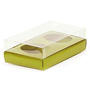 Caixa Ovo de Colher Duplo - Meio Ovo de 100g a 150g - 20cm x 13cm x 8,8cm - Ouro - 5unidades - Assk - Páscoa Rizzo Confeitaria