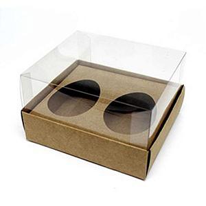 Caixa Ovo de Colher Duplo - Meio Ovo de 50g - 10cm x 10cm x 4cm - Kraft - 5unidades - Assk - Páscoa Rizzo Confeitaria