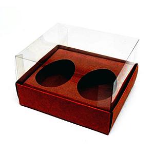Caixa Ovo de Colher Duplo - Meio Ovo de 50g - 10cm x 10cm x 4cm - Marrom - 5unidades - Assk - Páscoa Rizzo Confeitaria