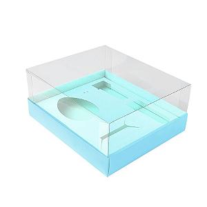Caixa Ovo de Colher Kit Confeiteiro - Meio Ovo de 100g a 150g - 20,5cm x 17cm x 6,5cm - Azul - 5unidades - Assk - Páscoa Rizzo Confeitaria