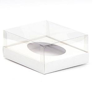 Caixa Ovo de Colher - Meio Ovo de 350g - 20,5cm x 17cm x 6,5cm - Branca - 5unidades - Assk - Páscoa Rizzo Confeitaria