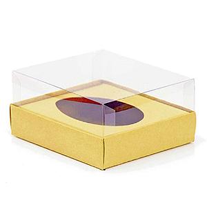 Caixa Ovo de Colher - Meio Ovo de 350g - 20,5cm x 17cm x 6,5cm - Ouro - 5unidades - Assk - Páscoa Rizzo Confeitaria