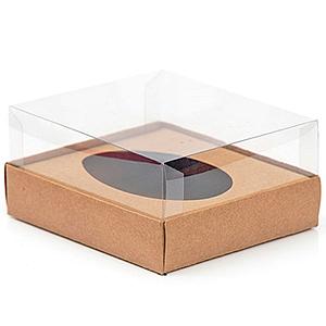 Caixa Ovo de Colher - Meio Ovo de 500g - 20,5cm x 17cm x 6,5cm - Kraft - 5unidades - Assk - Páscoa Rizzo Confeitaria