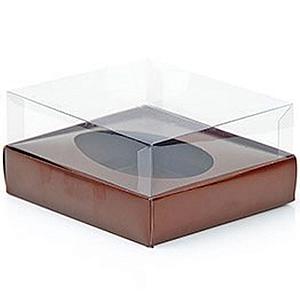 Caixa Ovo de Colher - Meio Ovo de 500g - 20,5cm x 17cm x 6,5cm - Marrom - 5unidades - Assk - Páscoa Rizzo Confeitaria