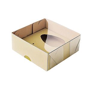 Caixa Ovo de Colher - Meio Ovo de 50g - 10cm x 10cm x 4cm - Kraft - 5unidades - Assk - Páscoa Rizzo Confeitaria
