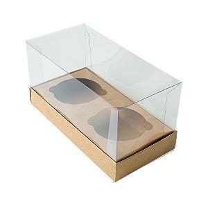 Caixa Cupcake com Tampa Transparente 2 Cavidades (17cm x 9cm x 8,5cm) Kraft 10 unidades Assk Rizzo Confeitaria