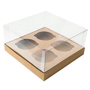 Caixa Cupcake com Tampa Transparente 4 Cavidades (17cm x 17cm x 8,5cm) Kraft 10 unidades Assk Rizzo Confeitaria