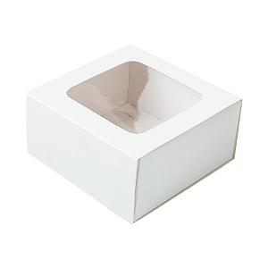 Caixa Gaveta com Visor Nº1 (8cm x 8cm x 4cm) Branca 10 unidades Assk Rizzo Confeitaria