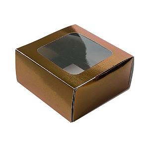 Caixa Gaveta com Visor Nº1 (8cm x 8cm x 4cm) Bronze 10 unidades Assk Rizzo Confeitaria