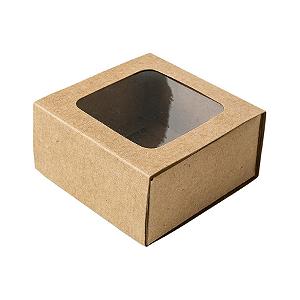 Caixa Gaveta com Visor Nº1 (8cm x 8cm x 4cm) Kraft 10 unidades Assk Rizzo Confeitaria