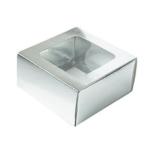 Caixa Gaveta com Visor Nº1 (8cm x 8cm x 4cm) Prata 10 unidades Assk Rizzo Confeitaria