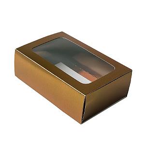 Caixa Gaveta com Visor Nº2 (8cm x 12cm x 4cm) Bronze 10 unidades Assk Rizzo Confeitaria
