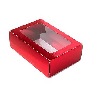 Caixa Gaveta com Visor Nº2 (8cm x 12cm x 4cm) Vermelha 10 unidades Assk Rizzo Confeitaria