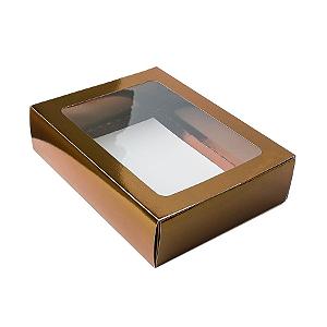 Caixa Gaveta com Visor Nº3 (12cm x 16cm x 4cm) Bronze 10 unidades Assk Rizzo Confeitaria