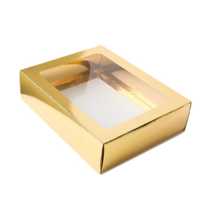 Caixa Gaveta com Visor Nº3 (12cm x 16cm x 4cm) Dourada 10 unidades Assk Rizzo Confeitaria