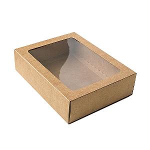 Caixa Gaveta com Visor Nº3 (12cm x 16cm x 4cm) Kraft 10 unidades Assk Rizzo Confeitaria