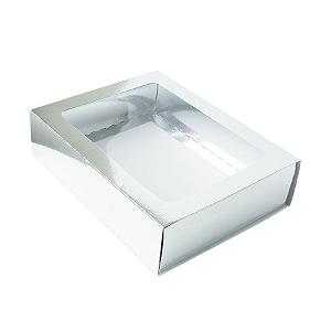 Caixa Gaveta com Visor Nº3 (12cm x 16cm x 4cm) Prata 10 unidades Assk Rizzo Confeitaria