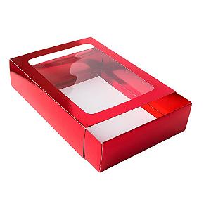 Caixa Gaveta com Visor Nº3 (12cm x 16cm x 4cm) Vermelha 10 unidades Assk Rizzo Confeitaria