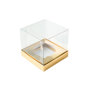 Caixa Mini Bolo M (7cm x 7cm x 7cm) Dourada 10 unidades Assk Rizzo Confeitaria