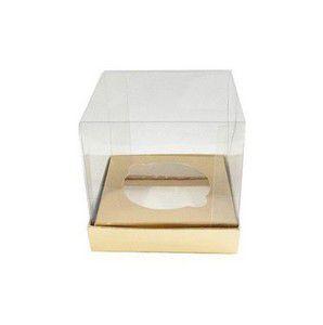 Caixa Mini Bolo PP (4cm x 4cm x 4cm) Dourada 10 unidades Assk Rizzo Confeitaria