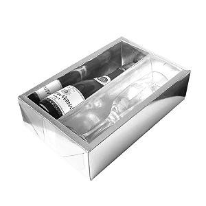 Caixa Mini Champanhe e Taça (20,5cm x 13cm x 6cm) Prata 5 unidades Assk Rizzo Confeitaria