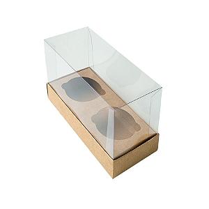 Caixa Mini Cupcake com Tampa Transparente 2 Cavidades (11cm x 9cm x 5,5cm) Kraft 10 unidades Assk Rizzo Confeitaria