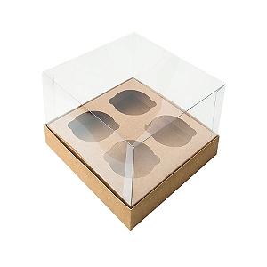 Caixa Mini Cupcake com Tampa Transparente 4 Cavidades (11cm x 11cm x 8,5cm) Kraft 10 unidades Assk Rizzo Confeitaria