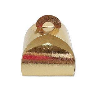Caixa Bem Casado Ouro Texturizado - 6,5x6,5x5,5cm - 12 unidades - Assk - Rizzo Confeitaria