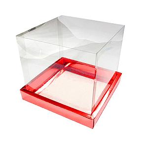 Caixa para Panetone 500g (15cm x 15cm x 15cm) Vermelha 5 unidades Assk Rizzo Confeitaria